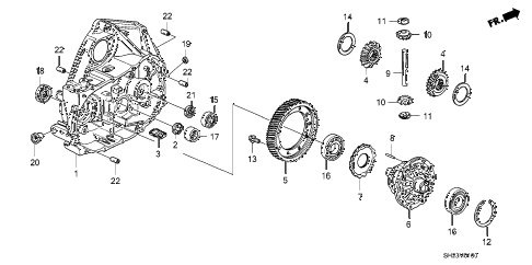 1988 crx HF 2 DOOR 5MT MT CLUTCH HOUSING  - DIFFERENTIAL diagram