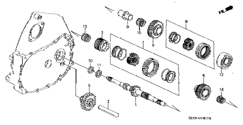 1989 crx SI 2 DOOR 5MT MT MAINSHAFT diagram