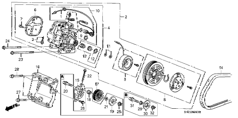 1988 crx DX 2 DOOR 4AT A/C COMPRESSOR (MATSUSHITA) diagram