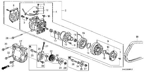 1988 crx HF 2 DOOR 5MT A/C COMPRESSOR (SANDEN) diagram