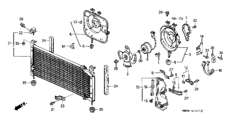 1988 crx SI 2 DOOR 5MT A/C AIR CONDITIONER (CONDENSER) diagram
