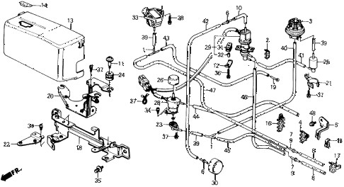 1990 civic DX 3 DOOR 4AT CONTROL DEVICE STAY (2) diagram