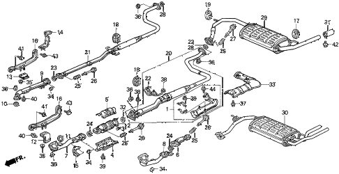 1990 civic DX 3 DOOR 5MT EXHAUST SYSTEM diagram