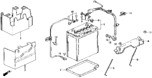 1991 civic SI 3 DOOR 5MT BATTERY - BATTERY CABLE diagram