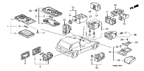 1991 civic DX 3 DOOR 5MT INTERIOR LIGHT - SWITCH diagram