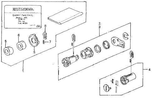1990 civic DX 3 DOOR 4AT KEY CYLINDER KIT diagram
