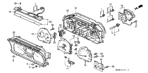1989 civic STD 3 DOOR 4MT METER COMPONENTS (NS) diagram