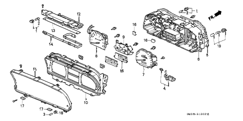 1989 civic SI 3 DOOR 5MT METER COMPONENTS (DENSO) diagram