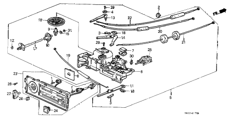 1989 civic DX 3 DOOR 5MT HEATER CONTROL diagram