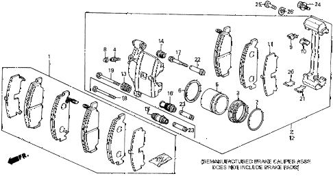 1991 civic STD 3 DOOR 4MT FRONT BRAKE CALIPER diagram
