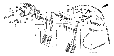 1990 civic STD 3 DOOR 4MT ACCELERATOR PEDAL diagram
