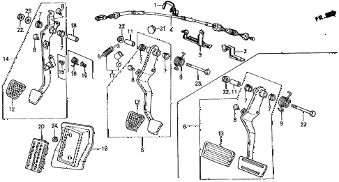 1991 civic STD 3 DOOR 4MT BRAKE @ CLUTCH PEDAL diagram