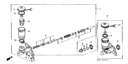 1989 civic DX 3 DOOR 5MT BRAKE MASTER CYLINDER diagram