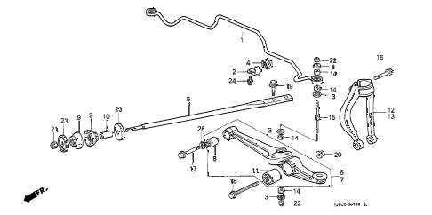 1991 civic DX 3 DOOR 5MT FRONT LOWER ARM diagram