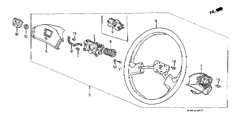 1991 civic STD 3 DOOR 4MT STEERING WHEEL (1) diagram