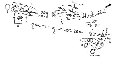 1988 civic STD 3 DOOR 4MT STEERING COLUMN diagram