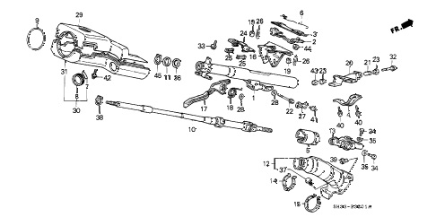 1989 civic SI 3 DOOR 5MT STEERING COLUMN (TILT) diagram