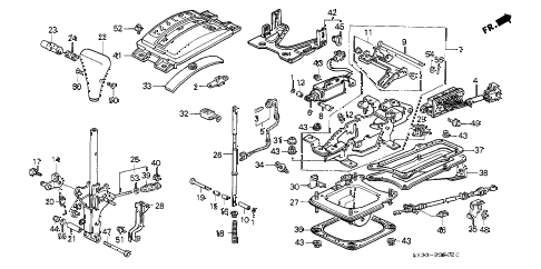 1990 civic DX 3 DOOR 4AT SELECT LEVER (2) diagram