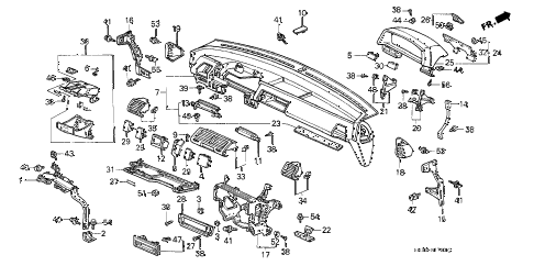 1990 civic SI 3 DOOR 5MT INSTRUMENT PANEL diagram