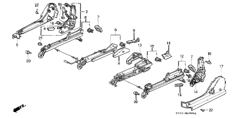 1990 civic SI 3 DOOR 5MT FRONT SEAT COMPONENTS (2) diagram