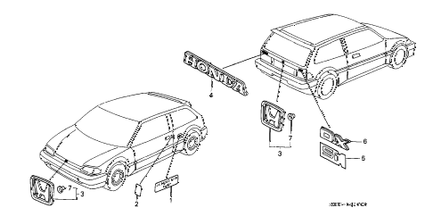 1989 civic STD 3 DOOR 4MT EMBLEMS diagram