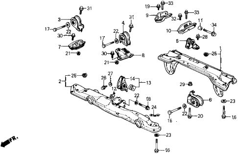 1989 civic STD 3 DOOR 4MT ENGINE MOUNT diagram