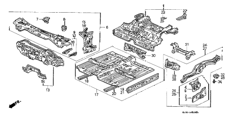 1989 civic DX 3 DOOR 5MT DASHBOARD - FLOOR diagram