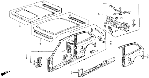 1991 civic SI 3 DOOR 5MT OUTER PANEL diagram