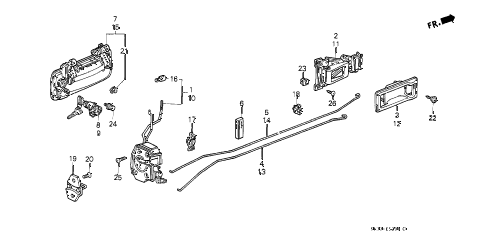 1989 civic STD 3 DOOR 4MT DOOR LOCK diagram