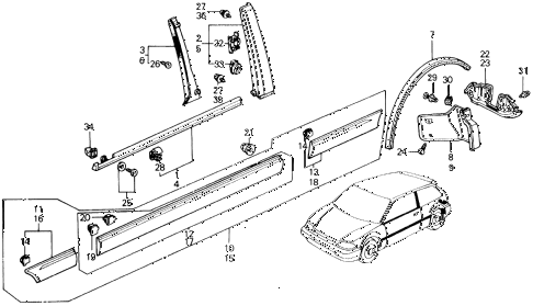 1991 civic SI 3 DOOR 5MT SIDE PROTECTOR diagram