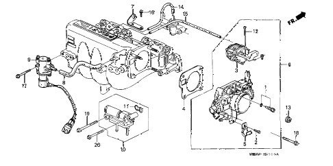 1990 civic SI 3 DOOR 5MT THROTTLE BODY (2) diagram