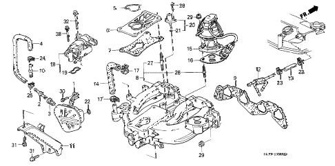 1989 civic DX 3 DOOR 5MT INTAKE MANIFOLD (1) diagram