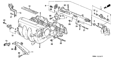 1990 civic SI 3 DOOR 5MT INTAKE MANIFOLD (2) diagram