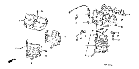 1989 civic STD 3 DOOR 4MT EXHAUST MANIFOLD (1) diagram