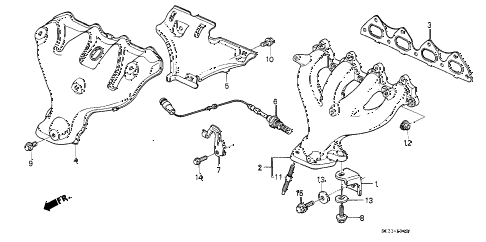 1990 civic SI 3 DOOR 5MT EXHAUST MANIFOLD (2) diagram