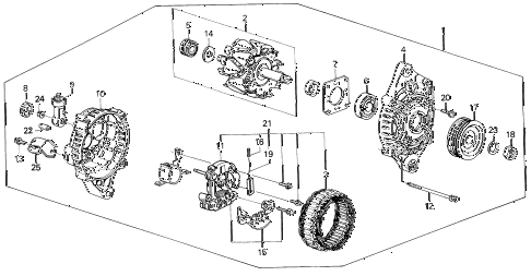 1991 civic STD 3 DOOR 4MT ALTERNATOR (MITSUBISHI) diagram