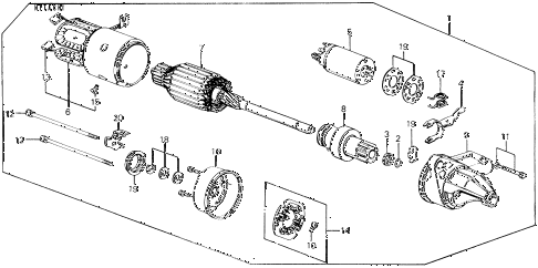 1990 civic DX 3 DOOR 4AT STARTER MOTOR (HITACHI) diagram
