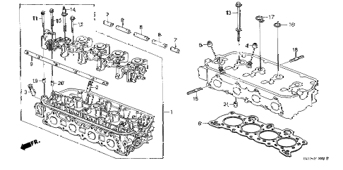 1989 civic STD 3 DOOR 4MT CYLINDER HEAD diagram