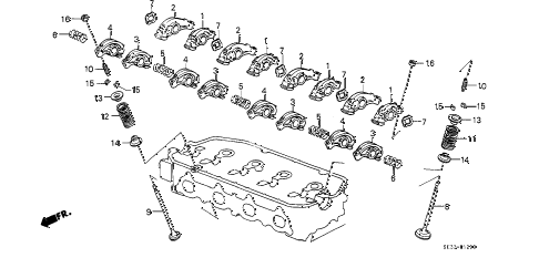 1990 civic SI 3 DOOR 5MT VALVE - ROCKER ARM diagram