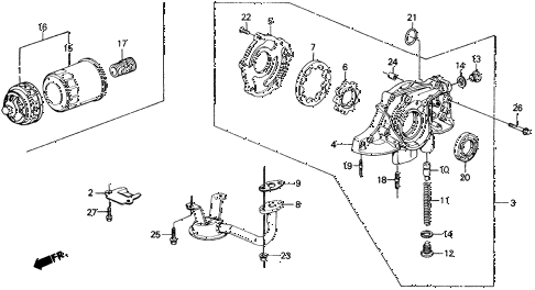 1991 civic STD 3 DOOR 4MT OIL PUMP - OIL STRAINER diagram