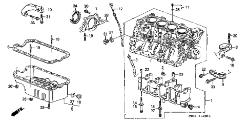 1988 civic STD 3 DOOR 4MT CYLINDER BLOCK - OIL PAN diagram