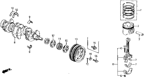 1988 civic DX 3 DOOR 5MT CRANKSHAFT - PISTON diagram