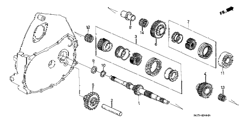 1991 civic DX 3 DOOR 5MT 5MT MAINSHAFT diagram