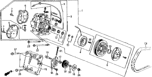 1988 civic DX 3 DOOR 5MT A/C COMPRESSOR (MATSUSHITA) diagram