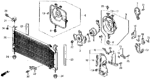 1988 civic STD 3 DOOR 4MT A/C AIR CONDITIONER (CONDENSER) diagram