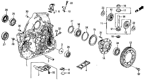 1988 civic DX 4 DOOR 4AT AT TORQUE CONVERTER HOUSING  - DIFFERENTIAL diagram