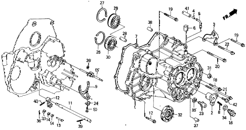 1990 civic LX 4 DOOR 4AT AT TRANSMISSION HOUSING diagram