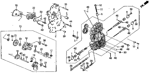 1990 civic DX 4 DOOR 4AT AT MAIN VALVE BODY diagram