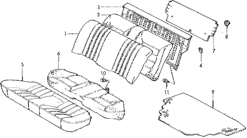 1988 civic DX 4 DOOR 5MT REAR SEAT (1) diagram