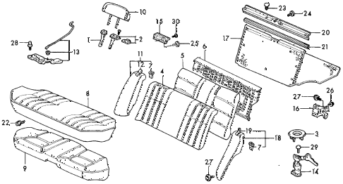 1990 civic DX 4 DOOR 4AT REAR SEAT (2) diagram